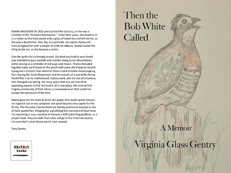 "cover of memoir ""Then the Bob White Called"" by Virginia Glass Gentry"